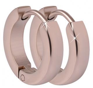 Troli Růžově pozlacené ocelové náušnice kroužky dámské