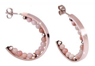 Troli Růžově pozlacené ocelové náušnice kruhy s korálky dámské