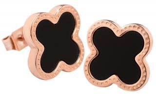 Troli Růžově pozlacené ocelové náušnice kytičky s černým středem KE-006 dámské