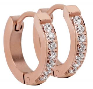 Troli Růžově pozlacené ocelové náušnice s krystaly dámské