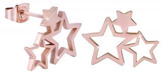 Troli Růžově pozlacené ocelové náušnice se třemi hvězdičkami dámské