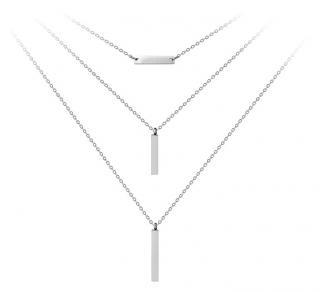 Troli Trojitý ocelový náhrdelník s přívěsky