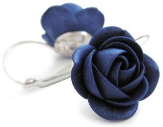 Troli Třpytivé modré visací náušnice kytičky