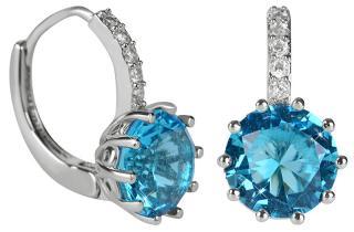 Troli Třpytivé náušnice s modrým krystalem dámské