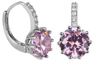 Troli Třpytivé náušnice s růžovým krystalem dámské