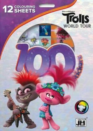 Trollové 2 - 100 samolepek s omalovánkovými listy