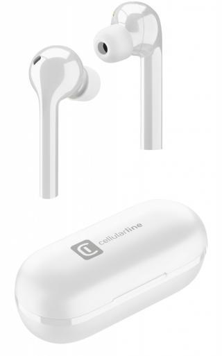True wireless sluchátka Cellularline Flag s dobíjecím pouzdrem, bílá