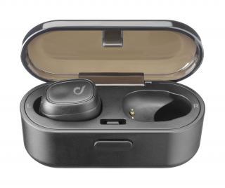 True wireless sluchátka Cellularline Shadow s dobíjecím pouzdrem, černá