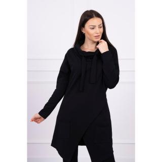 Tunic with envelope front Oversize black dámské Neurčeno One size
