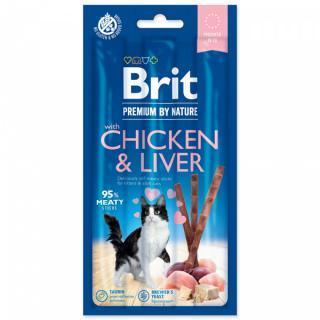 Tyčinky brit premium by nature cat sticks with chicken & liver 3ks