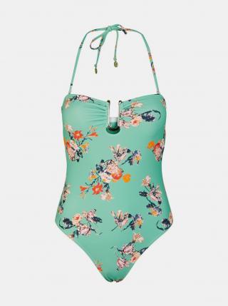 Tyrkysové květované jednodílné plavky Pieces Nynne - S dámské tyrkysová S