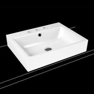 Umyvadlo na desku Kaldewei Puro 3157 60x46 cm alpská bílá tři otvory pro baterii 900706033001 bílá alpská bílá
