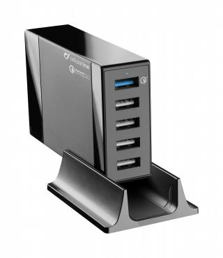 Univerzální síťová nabíječka Cellularline Energy Station QC, 5x USB, Qualcomm Quick Charge 3.0, max 50W černá