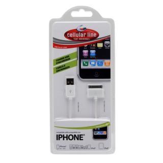 USB datový kabel CellularLine s konektorem Apple 30-pin, bílý
