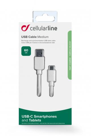 USB datový kabel Cellularline s USB-C a Power Delivery (PD), 60 W max, 60 cm, bílý