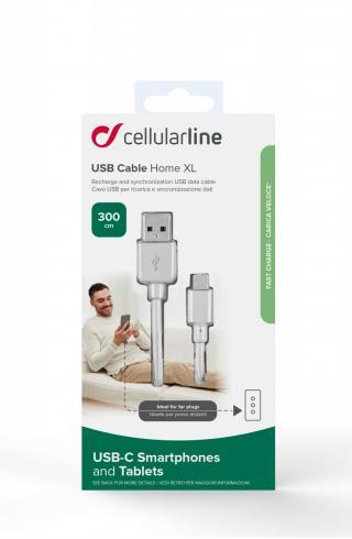 USB datový kabel Cellularline s USB-C a Power Delivery (PD), 60W max, 3m, bílý