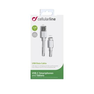 USB datový kabel Cellularline s USB-C konektorem (PD), 60W max, 1,2 m bílý
