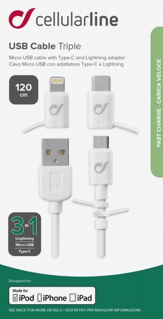 USB kabel CellularLine se 3 adaptéry Lightning Micro USB USB-C, bílý