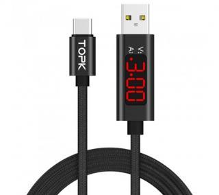 USB kabel typu C s displayem - 2 barvy Barva: černá, Typ: 1 m
