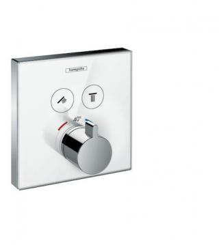 Vanová baterie Hansgrohe Showerselect Glass bez podomítkového tělesa bílá/chrom 15738400 bílá bílá