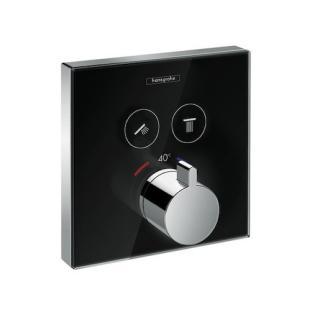 Vanová baterie Hansgrohe Showerselect Glass bez podomítkového tělesa černá/chrom 15738600 černá černá