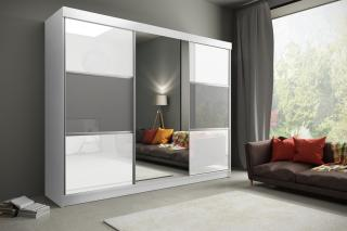 Velká šatní skřín Retina 250cm, bílá/šedá   zrcadlo
