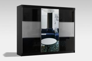 Velká šatní skřín Retina 250cm, černá/šedá   zrcadlo
