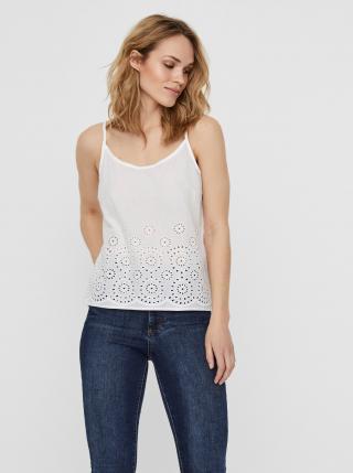 Vero Moda bílé tílko s madeirou - XS dámské bílá XS