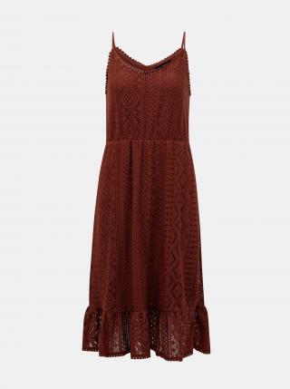 Vero Moda hnědé krajkové šaty Lea - M dámské hnědá M