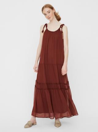 Vero Moda hnědé maxi šaty Penelope - XS dámské hnědá XS