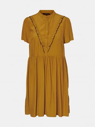 Vero Moda hořčicové šaty se stojáčkem - XS dámské hořčicová XS