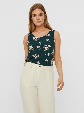 Vero Moda zelený květinový top - M dámské zelená M