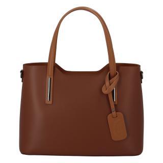 Větší kožená kabelka hnědo koňaková - ItalY Sandy dámské