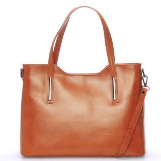 Větší kožená kabelka světle hnědá - ItalY Sandy dámské