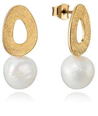 Viceroy Elegantní pozlacené náušnice s perlou Fashion 15048E01012 dámské