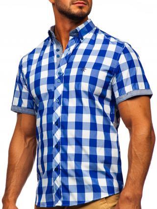 Vínová pánská kostkovaná košile s krátkým rukávem Bolf 6522 2XL