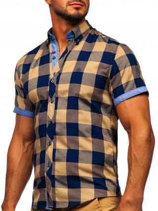 Vínová pánská kostkovaná košile s krátkým rukávem Bolf 6522 S