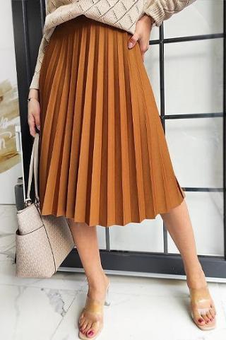 VIRGIN pleated skirt, camel CY0225 dámské Neurčeno One size
