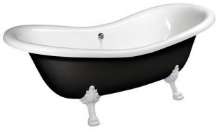 Volně stojící vana Polysan CHARLESTONE 188x80 cm akrylát levá i pravá černá/nohy bílé 72959 černá černá