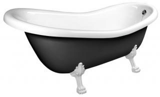 Volně stojící vana Polysan RETRO 158x73 cm akrylát levá i pravá černá/nohy bílé 72971 černá černá
