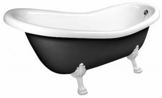 Volně stojící vana Polysan RETRO 169x75 cm akrylát levá i pravá černá/nohy bílé 72968 černá černá