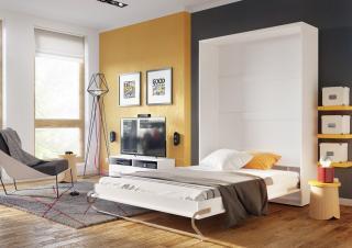 Výklopná postel 120 cm v bílém lesku typ CP 02P KN632
