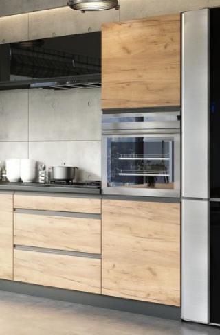 Vysoká skříňka na vestavnou troubu ke kuchyni brick -ii.jakost dub craft