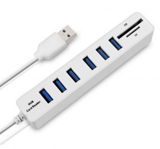 Vysokorychlostní rozbočovač USB HUB 2 v 1 čtečku SD karet - 2 barvy Barva: bílá