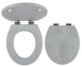 Wc prkénko Novaservis MDF beton WC/SOFTSTONE1 šedá beton