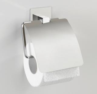 WENKO Držák WC papíru BEZ VRTÁNÍ TurboLoc QUADRO kovově lesklý 7x22x18 cm