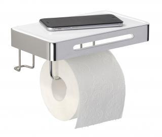 WENKO Držák WC papíru s poličkou BEZ VRTÁNÍ Premium Plus kovově lesklý