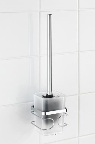WENKO WC štětka BEZ VRTÁNÍ Premium kovově lesklá 34x11x10 cm