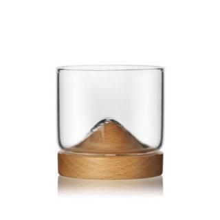 Whisky sklenice s dřevěným stojanem Barva: světle hnědá