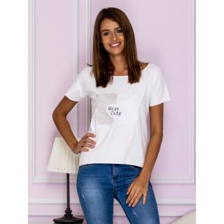 White and gray blouse with embroidered application dámské Neurčeno M